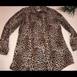 Chico's No Iron Cheeta Print Roll Tab Cotton Tunic